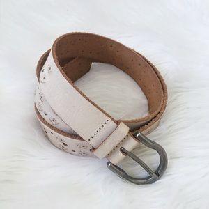 Vintage Cream Leather Floral Embossed Boho Belt